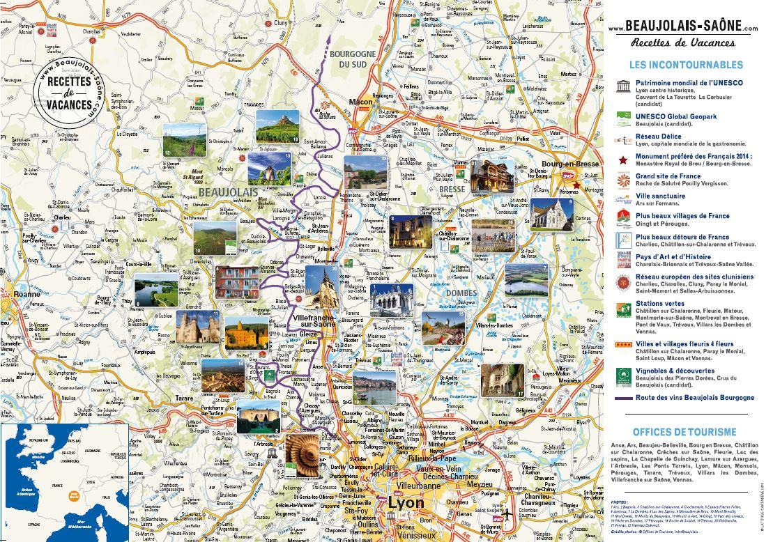 Carte des lieux incontournables du territoire Beaujolais Saône